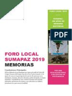 Memorias Foro Local 2019