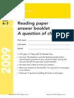 Ks3 English 2009 Reading Answer Booklet
