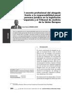 El secreto profesional del abogado frente a la responsabilidad penal de la persona jurídica en la legislación española y el Tribunal de Justicia de la Unión Europea