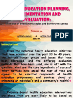Health Education Planning, Implementation and Evaluation