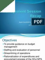 Management Session Recap4