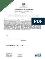 ANEXO No 5. CERTIFICACIÓN DE CUMPLIMIENTO DEL ARTÍCULO 50 DE LA LEY 789 DE 2007