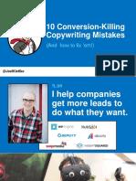 10 Conversion-Killing Copy Mistakes - Joel Klettke