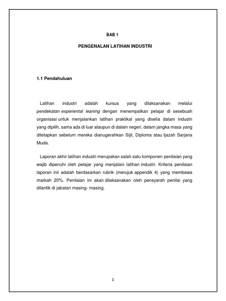 Contoh Laporan Akhir Latihan Industri Li 2019