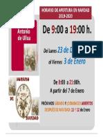 Horario de Navidad 2019-2020 - CRAI Antonio de Ulloa