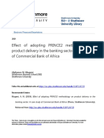Effect of Adopting PRINCE2 Methodology on Product Delivery in the Banking Sector - A Case Study of Commercial Bank of Africa