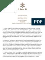 Carta Apostolica Admirabile Sig - Papa Francisco
