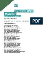 Klausens DIE QUEEN-TUER UND -MACHER Ein Reihungsgedicht Stand 13-12-2019