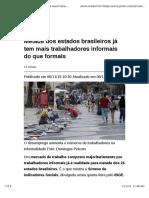 Metade Dos Estados Brasileiros Já Tem Mais Trabalhadores Informais Do Que Formais