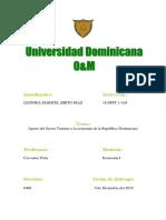 Aporte de Turismo en La Republica Dominicana
