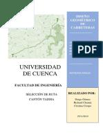 INFORME_PREFECTIBILIDAD_VIA_TAISHA_SELECCION DE RUTAS_METODO_DE_BRUCE
