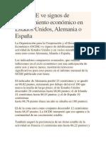 La OCDE Ve Signos de Debilitamiento Económico en Estados Unidos