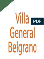 Villa General Belgrano. Informe