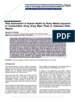 Risk Assessment of Human Health by Heavy Metals Exposure to Communities along Hong Major Road in Adamawa State, Nigeria