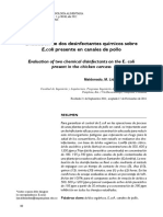 Evaluación de Dos Desinfectantes Químicos Sobre E. Coli Presente en Canales de Pollo