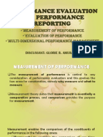 Performance Evaluation and Performance Reporting