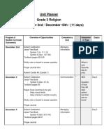 unit planner  grade 3 religion