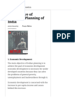 10 Objective of Economic Planning of India