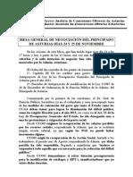 MESA GENERAL DE NEGOCIACIÓN DEL PRINCIPADO DE ASTURIAS DÍAS 24 Y 25 DE NOVIEMBRE