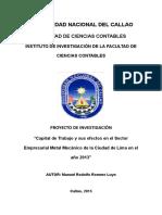 Proyecto de Investigación CAPITAL de TRABAJO 2015