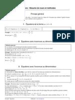 résumé de cours et fiche-m´thpde sur les équations
