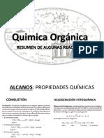 Quimica Orgánica Resumen de Algunas Reacciones