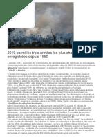 2019 Parmi Les Trois Années Les Plus Chaudes