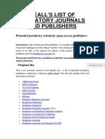 BEALLS LIST OF PREDATORY PUBLISHERS