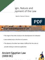 Origin, Nature and Development of the Law