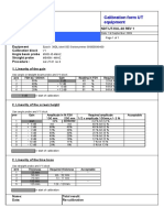 Calibration sheet Ultrasonic test equipment
