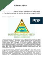 """Em referência ao termo """"Cristo"""" (dedicado à Maçonaria) – Por Henrique José de Souza"""