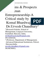 Problems & Prospects of Women Entrepreneurship-A Critical Study-1