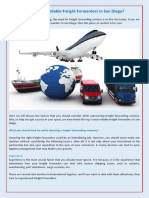 Looking for Reliable Freight Forwarders in San Diego?