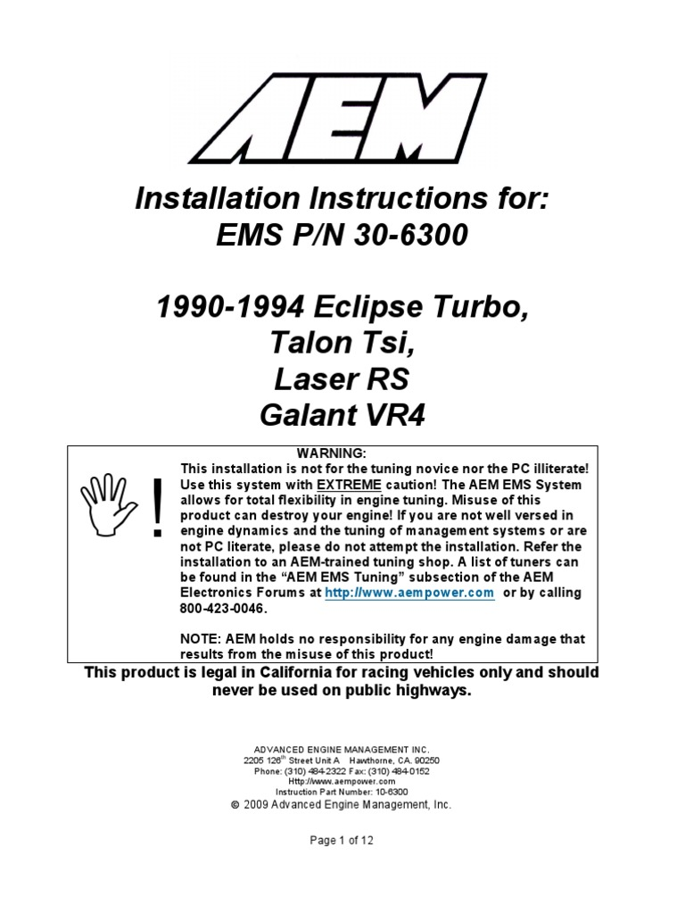 Installation Instructions 30 6300 Fuel Injection Turbocharger Ecu Wiring Harness 1991 Eagle Talon