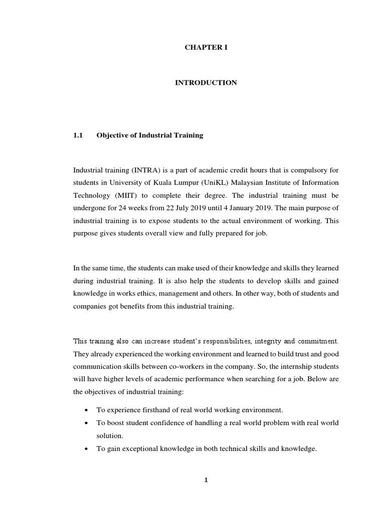 Industrial Training Report Unikl Laptop Biotechnology