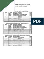 Cuadro de Postulados Matricula de Honor Promedio 2019 1
