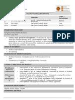 agriculture -Sample CV