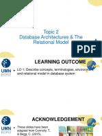 Minggu ke- 2 - Database Architectures  The Relational Model