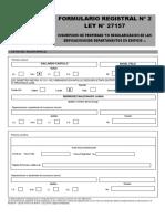 Formulario Registral N°2