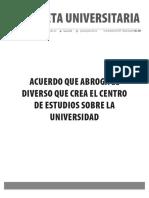 Gaceta 438-Edición Especial-Acuerdo que abroga el diverso que crea el Centro de Estudios sobre la Universidad