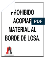 Prohibido Acopiar Material Al Borde de Losa - Everto