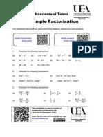 Steps Into Algebra Simple Factorisation Worksheet