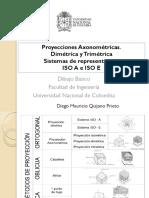 Quijano 2014 Dibujo Sesión 7. Sistemas de representación. Proyecciones Axonométrica, Isométrica, Dimétrica, Trimétrica y Caballera