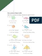 Matematicas Resueltos (Soluciones) Areas y Perimetros 1º ESO