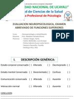EVALUACION NEUROPSICOLOGICA, EXAMEN ABREVIADO DE FUNCIONES SUPERIORES