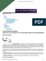 Entrepreneurship-Introduction- Full Notes