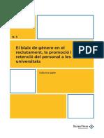 El biaix de gènere en el reclutament, la promoció i la retenció del personal a les universitats