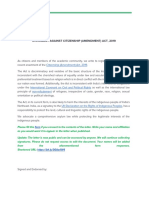 Open Letter Against Citizenship Amendment Act, 2019