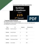 Surbiton Taxi - Economical Surbiton Cabs and Quotes