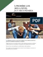 FRANCIA PROHÍBE LOS CELULARES A NIVEL PRIMARIA Y SECUNDARIA